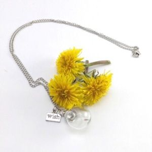Dandelion petals in bauble silver necklace